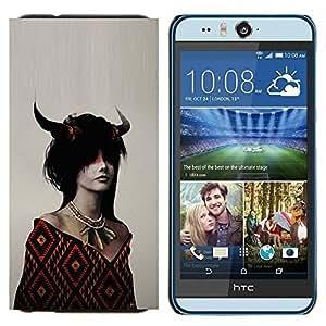 EJOOY---Cubierta de la caja de protección para la piel dura ** HTC Desire Eye M910x ** --Dragón de cuernos Chica
