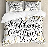 Ambesonne Romantic Duvet Cover Set King Size by, Golden Foliage Pattern Frame Style with Heart Shapes and Inspirational Quote, Decorative 3 Piece Bedding Set with 2 Pillow Shams, Gold White Black