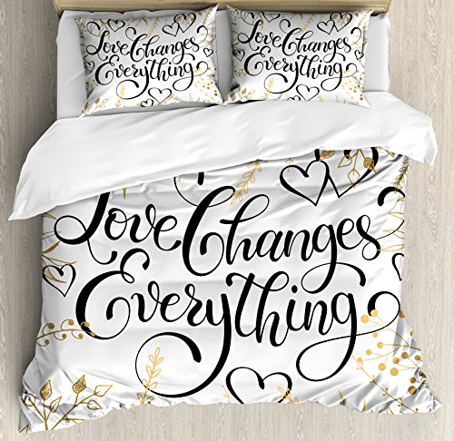 Romantic Duvet Cover Set Queen Size by Ambesonne, Golden Foliage Pattern Frame Style with Heart Shapes and Inspirational Quote, Decorative 3 Piece Bedding Set with 2 Pillow Shams, Gold White Black