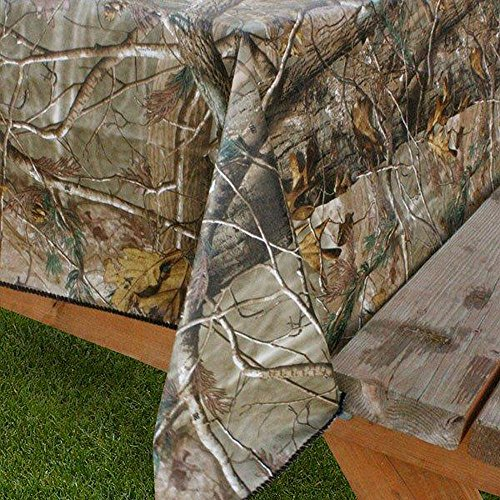 Design Imports Realtree AP PEVA Vinyl Tablecloth Flannel Backed Camouflage Print Indoor Outdoor 60-Inch Round