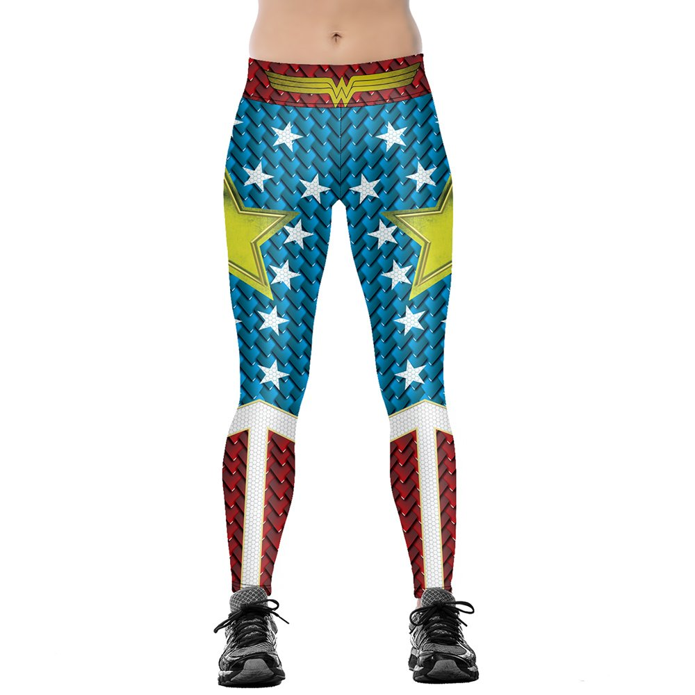 90383b10 JORYEE Women's Wonder Women Printed Star Pattern Leggings Funny Costume  Tights Colorblock Plus Size 2XL