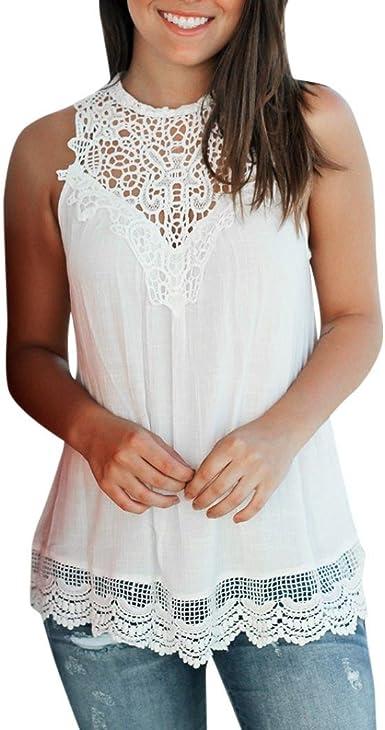 QinMM Camiseta Blusa Encaje sin Mangas para Mujer, Camisa Verano Tops (Blanco, S): Amazon.es: Ropa y accesorios