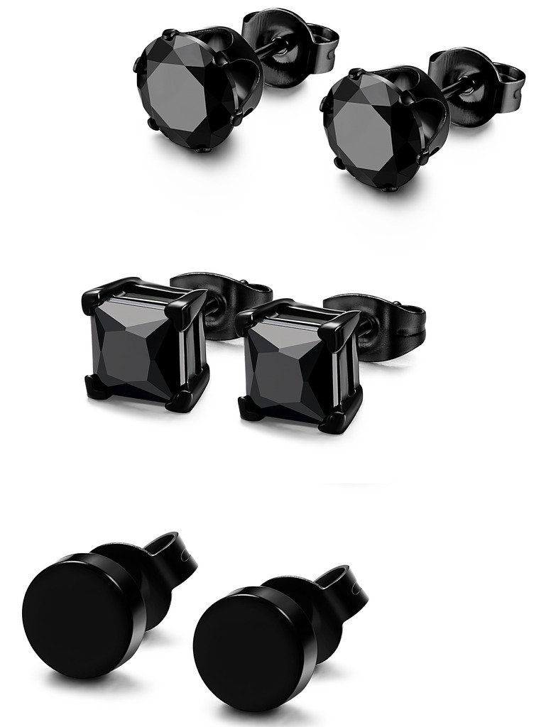FIBO STEEL 3 Pairs Stainless Steel Black Stud Earrings for Men Women CZ Earrings, 3mm-8mm Available 1WMBE372-3