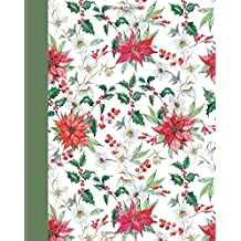 Journal: Holiday Poinsettias 8x10 - GRAPH JOURNAL - Journal with graph paper pages, square grid pattern