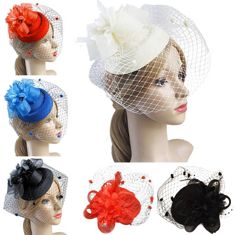 Mesh Feather Hair Clip Women Girls Hairpin Cocktail Party Flower Barrette Fascinator Hat Fascinating Hair Clip Red