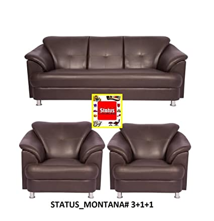 Status Furniture Montana 3+1+1 Brown Leatherite Sofa Set ,Perfect For Home