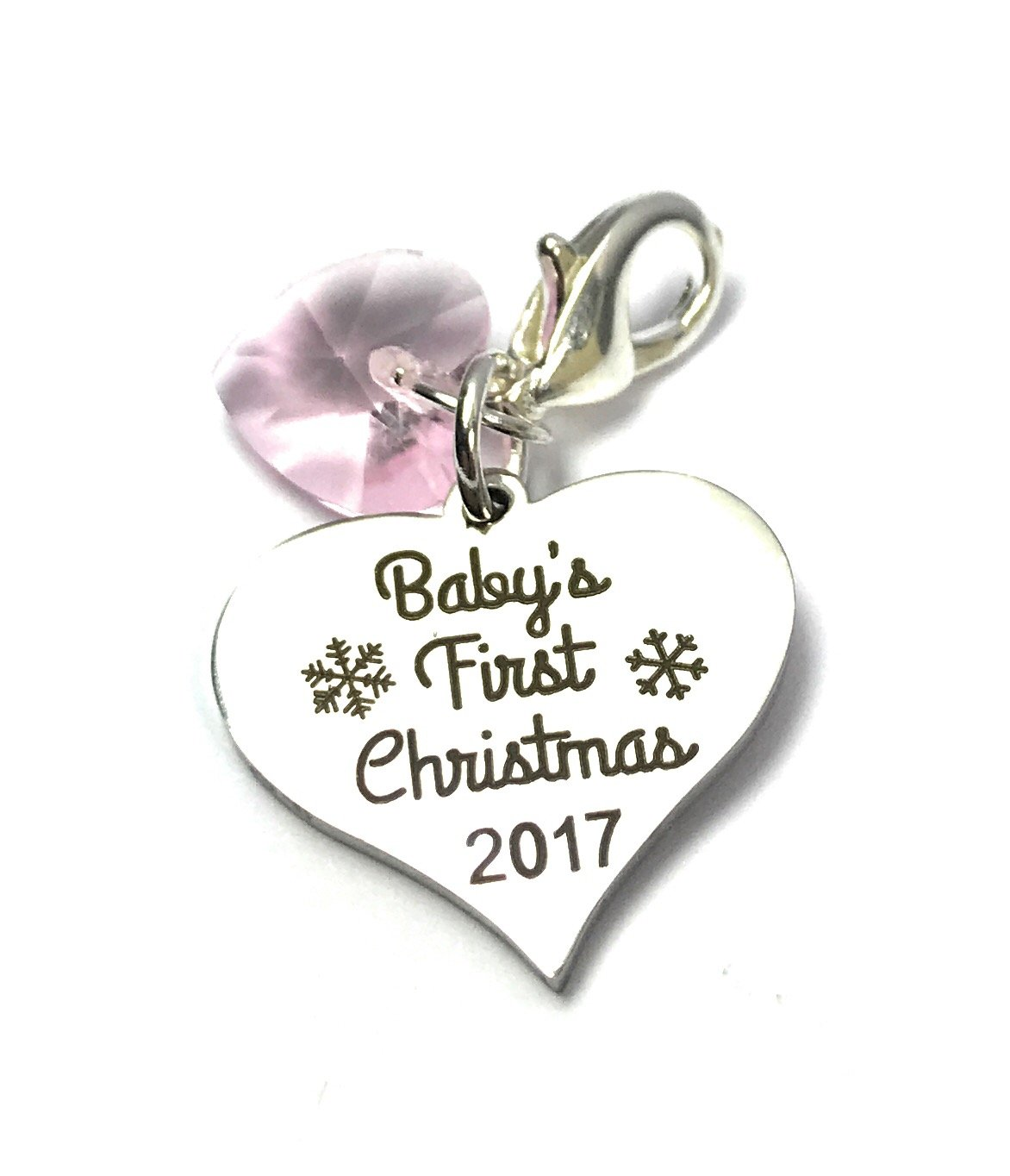 Baby's First Christmas 2017 sign charm with Pink Crystal comes in 3 Different Gift Options Handmade by Libby's Market Place (Gift Box) Libby's Market Place