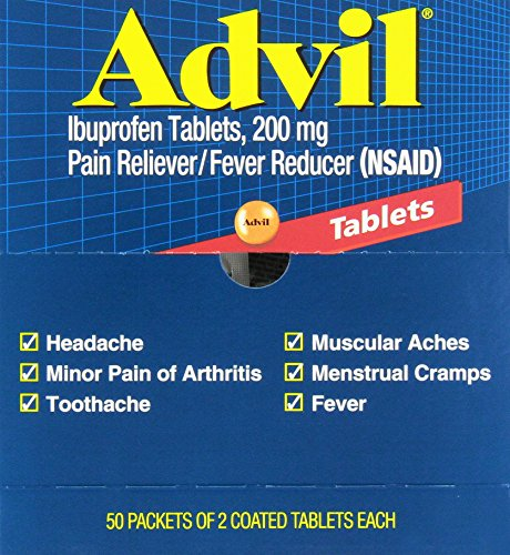 Advil Tablets Pain Reliever Refill, 50 Two-Packs per Box(Pack of 4) Tablets Pain Reliever Refill