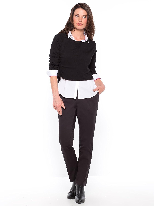 Balsamik - Pull court col rond manches longues, très mode - femme - Taille    42 44 - Couleur   Noir   blanc  Amazon.fr  Vêtements et accessoires d1f9bf71ff15