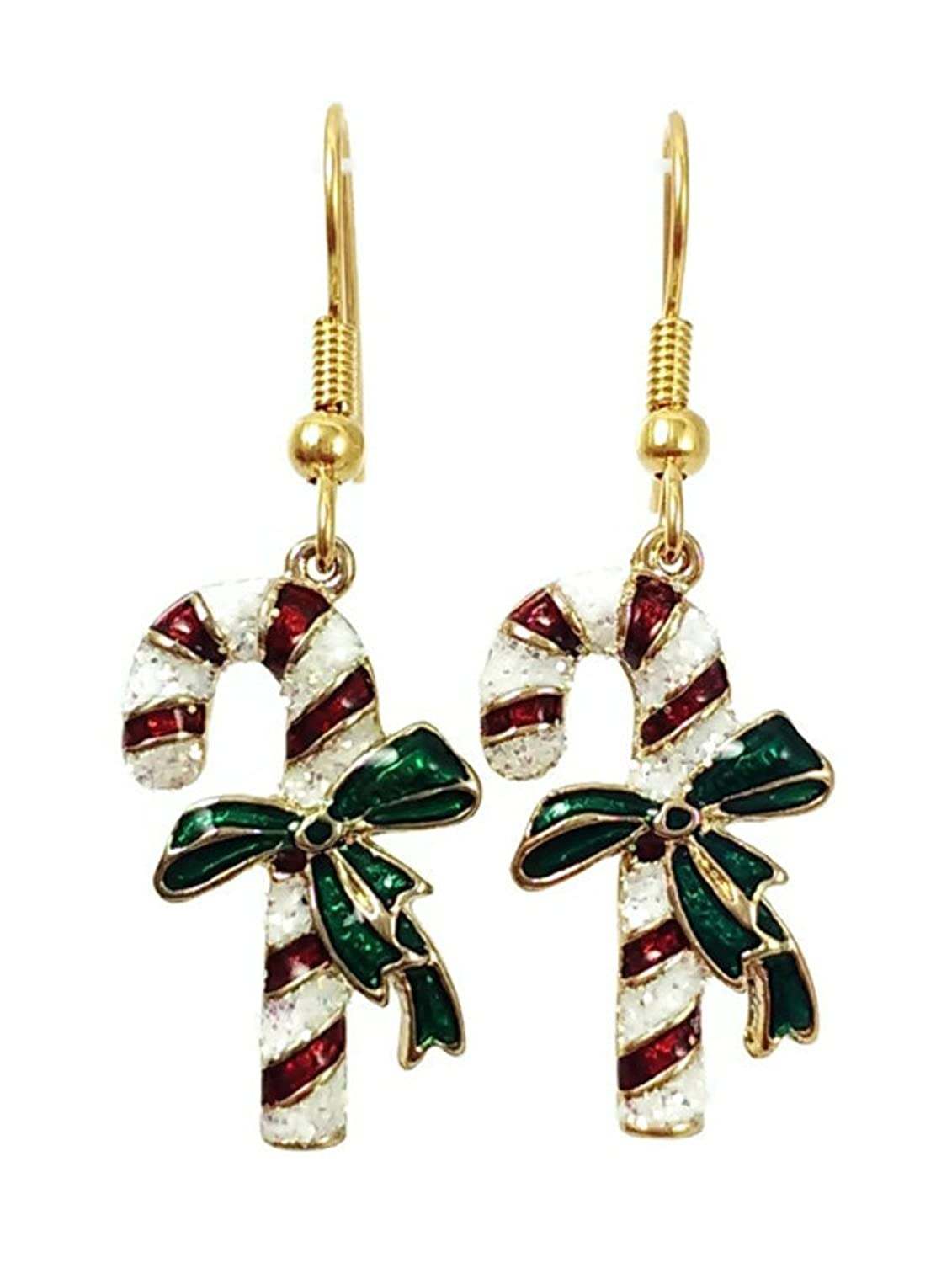 Stainless Steel Dangle Earrings Christmas Candy Cane Gold Tone
