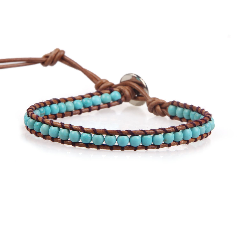 KELITCH Turquoise Beaded Single Wrap Bracelet Handmade New Cuff on Natural Leather (Black)