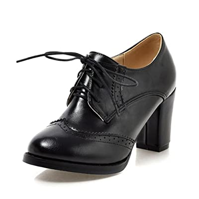Aisun Women's Vintage Pointed Toe Wear To Work Office Dress Lace Up Oxford Shoes Stacked High Heel Booties Ankle Boots