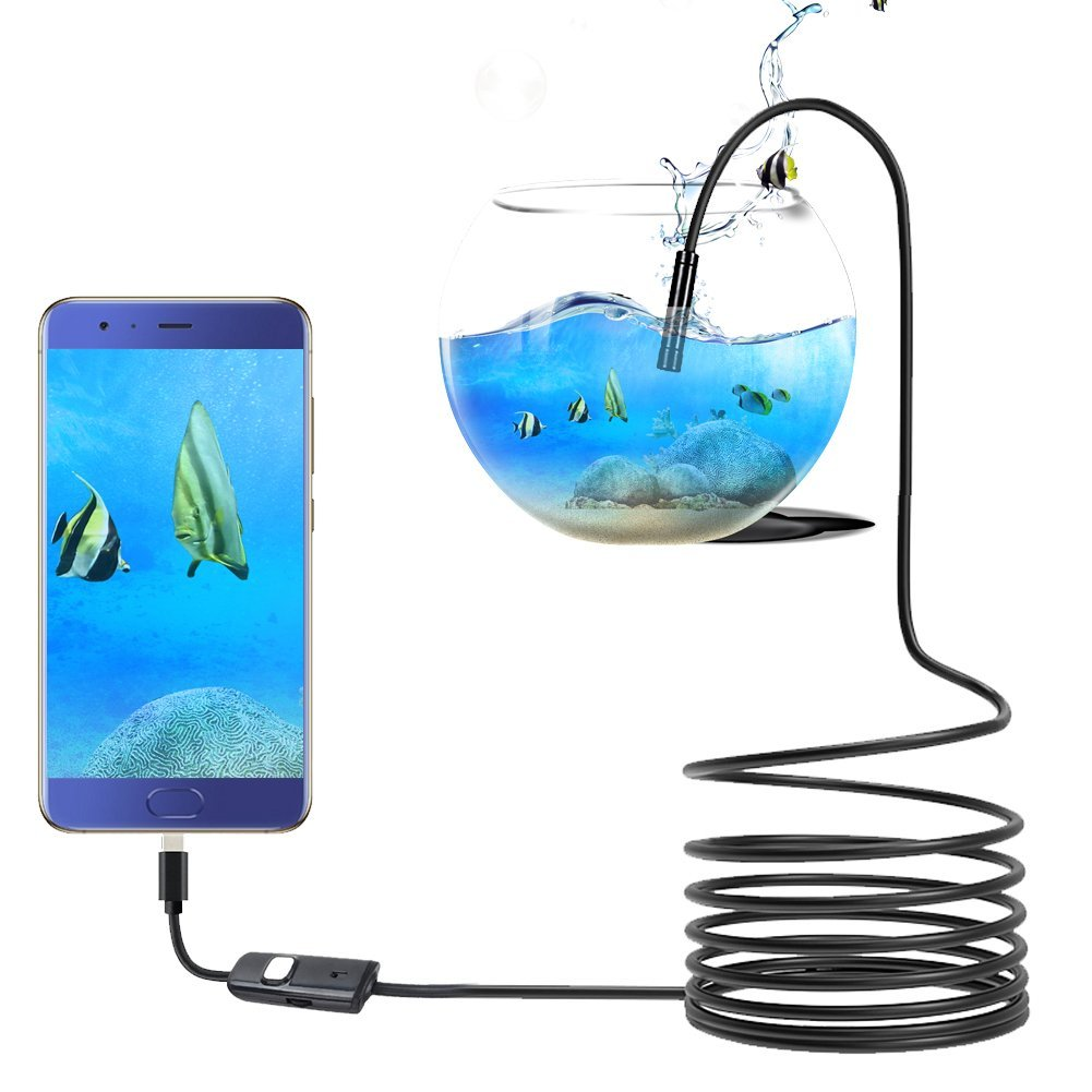 zerone Endoscope Camé ra, USB Endoscope HD Numé rique avec 6 Lumiè res LED 5,5cm Camé ra d' Inspection IP67 Etanche pour Android PC (1m Câ ble) USB Endoscope HD Numérique avec 6 Lumières LED 5