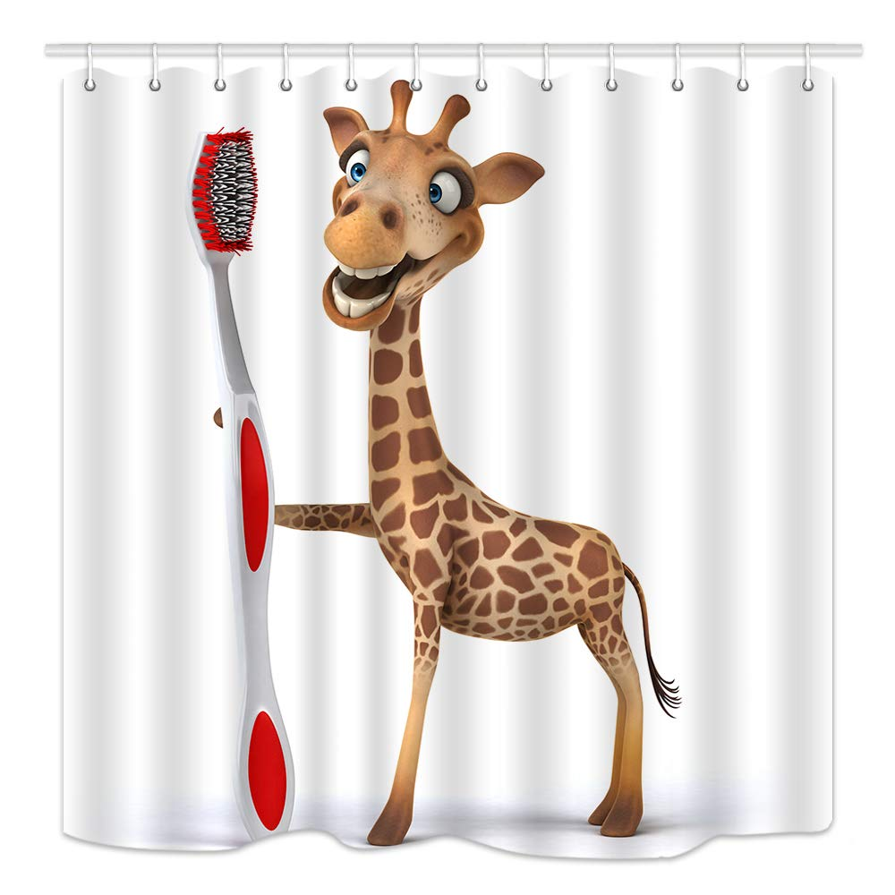 HNMQ 3D Cartoon Giraffe Shower Curtain for Kids, Funny Africa Animals Brushing Teeth, Mildew Resistant Fabric Bathroom Decorations, Bath Curtains Hooks in cluded, 69X70 Inches, Brown