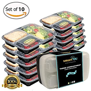 smartYOU 3-Compartment Bento Lunch Box / Sturdy Plastic Food Containers (Set of 10) with Leakproof Lids for Kids and Adults - Perfect to use for Meal Prep, 21 Day Fix, and Portion Control