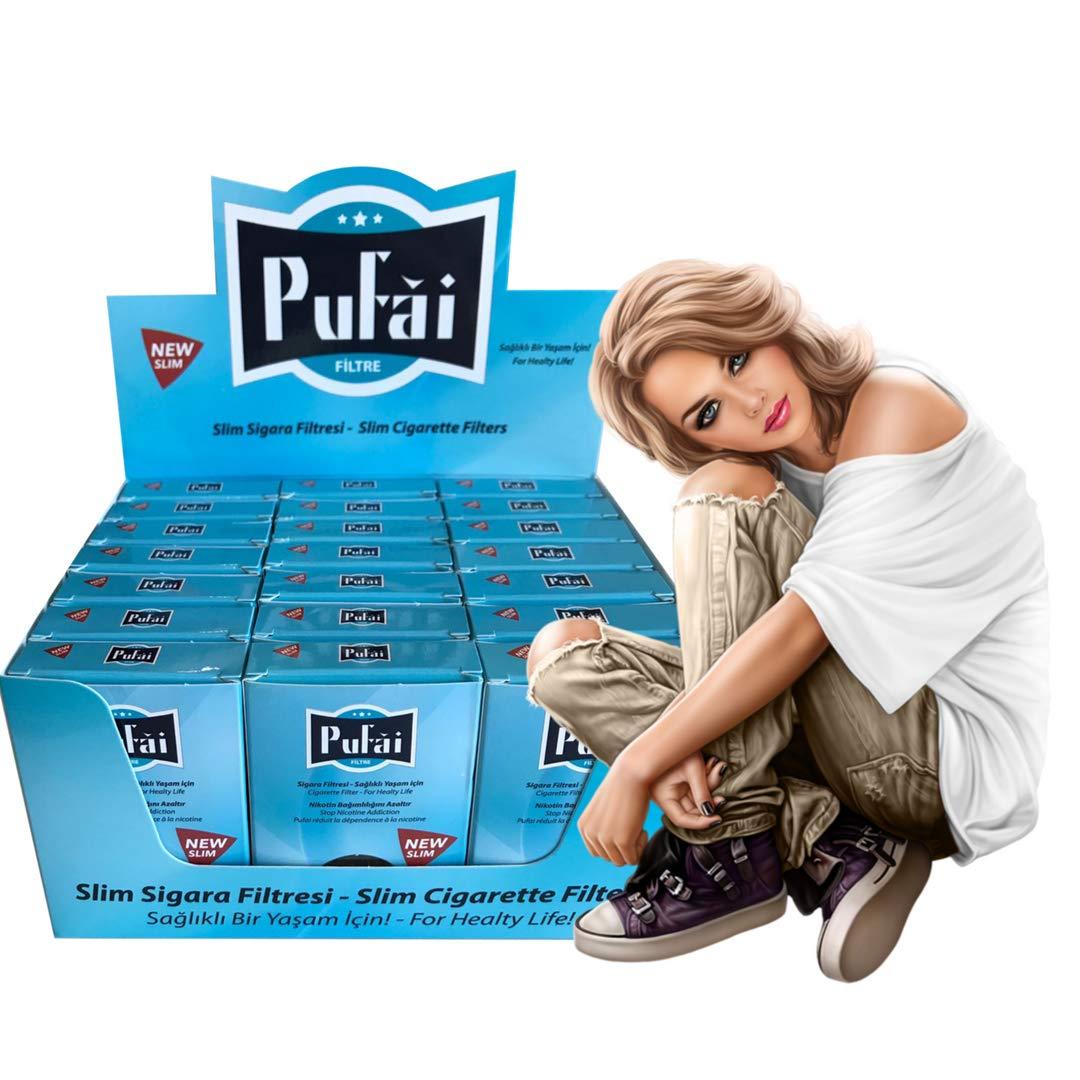 Pufai Reusable Slim Cigarette Filters Compatible 5 mm 6 mm 525 Piece 21 Turquoise Boxes
