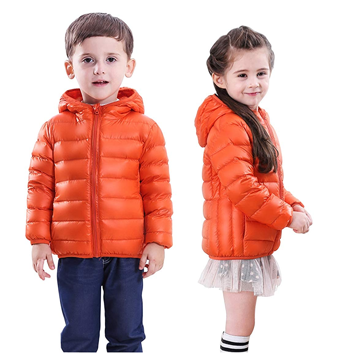 SHANGPIN Girl and Boy Winter Lightweight Waterproof Packable White Duck Down Hooded Jacket