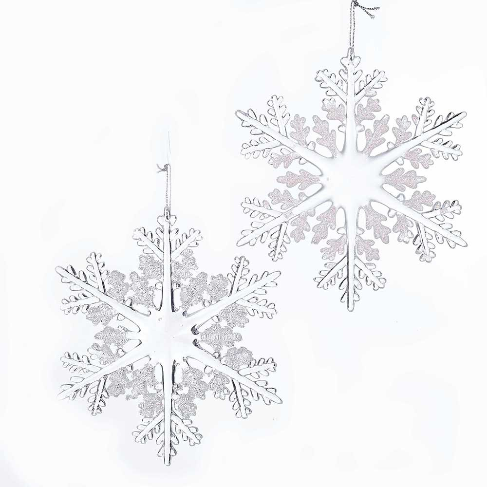 Acrylic Crystal Clear Snowflake Ornaments with Look of Delicate Crystal Glass Set of 2 - ChristmasTablescapeDecor.com