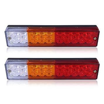 2 luces traseras de la marca ABEODE de 12V impermeables con 20 bombillas LED [Energía de Clase A+]: Amazon.es: Coche y moto