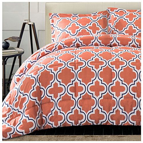 forter Set with Pillow Shams, Luxurious & Soft Microfiber with Down Alternative Fill, Contemporary Geometric Trellis Design - Full/Queen Bedding Set, Coral (Coral Trellis)