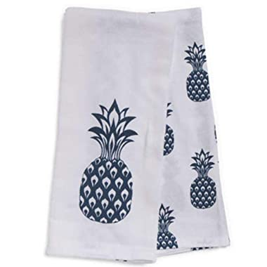 ENVOGUE Pineapple Kitchen Towels Fruit Tropical Island Beach Blue White Cotton (2)