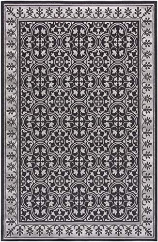 MH London Jasmine Indoor Outdoor Area Rug Latex Free Polypropylene Quick Dry Throw Rugs 5 3 x 7 6 Black Floorcover Carpet for Garden, Pool, Patio More