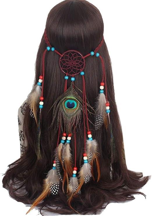 Yishelle Sombrero de fascinadores Decoración India del Pelo del ...