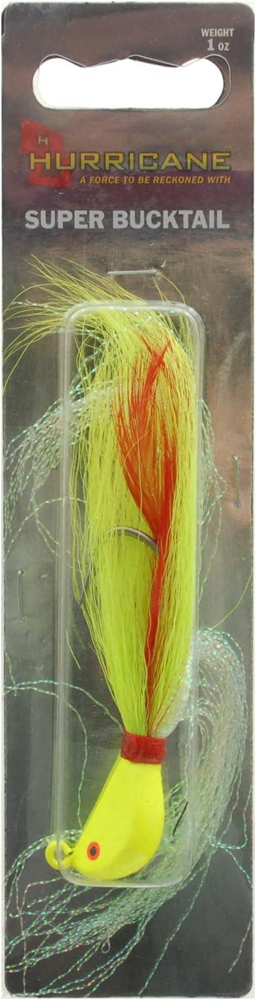 HURRICANE SBJ10-10 Striper Bucktail Chart 1 Oz,Chartreuse