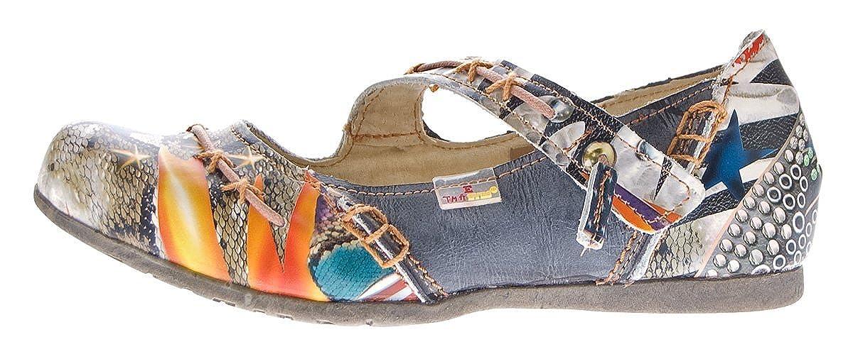 TMA Muster Leder Damen Ballerinas Echtleder Muster TMA variieren Comfort Schuhe 5085 Sandalen Bunt Gr. 36-42 5da227