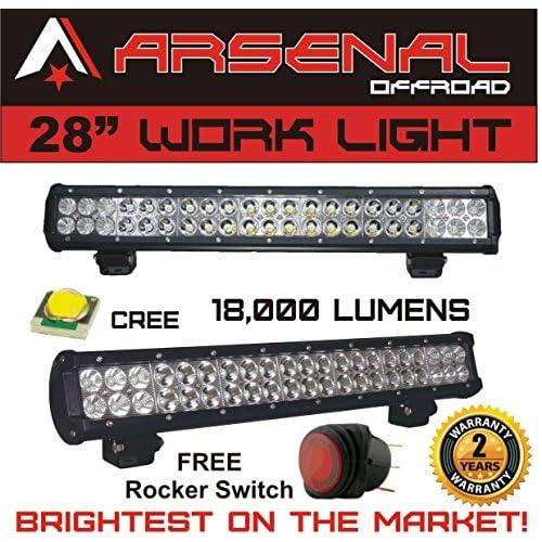 "#1 28"" Dual Row High Power 180w Cree SMD LED Light Bar by Arsenal OffroadTM Off Road Polaris RZR UTV Raptor Jeep Rock Light free shipping"