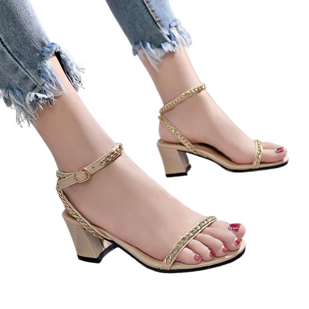 vermers Clearance High Heeled Shoes for Women - Metal Decoration Round Toe Hasp Square Heel Sandals(US:5.5, Beige) by vermers