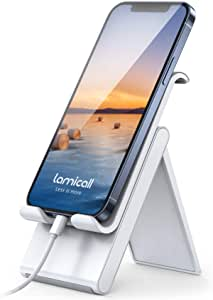 Lamicall Adjustable Cell Phone Stand - Foldable Portable Holder Cradle for Desk, Desktop Charging Dock Compatible with Phone 12 Mini 11 Pro XS Max XR X 8 7 6S Plus Galaxy S10 S9 S8 Smartphones Gray
