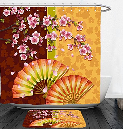 Nalahome Bath Suit: Showercurtain Bathrug Bathtowel Handtowel Floral Sakura Blooms with Japanese Hand Fan Figures Authentic Asian Design Marigold Baby Pink Burgundy