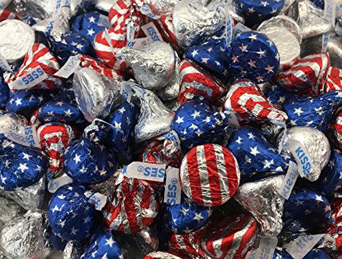 Hershey Milk Chocolate Kisses, Silver and Red-White and B...