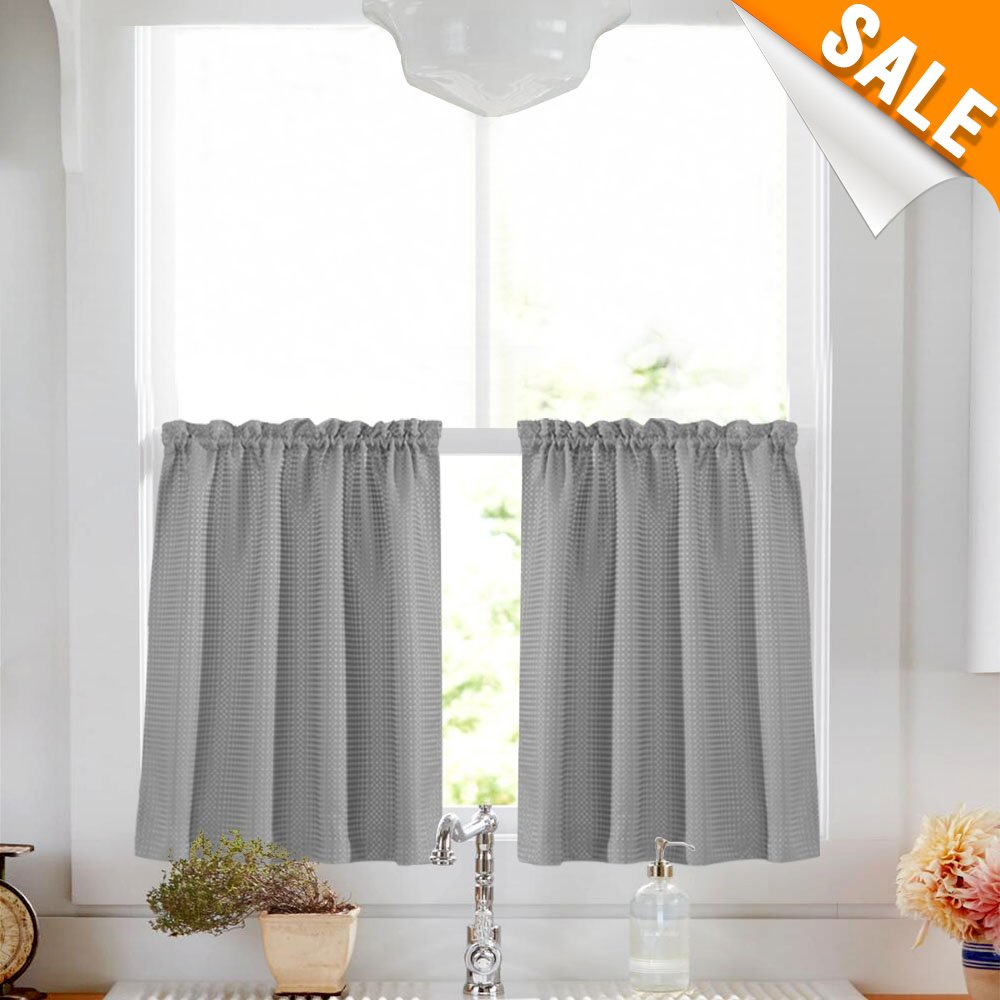 Lazzzy Gray Tier Curtains for Bathroom 36 Inch Grey Waterproof Kitchen Curtains Over Sink Waffle-Weave Textured Café Curtain Set 1 Pair