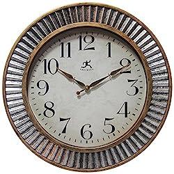 Infinity Instruments Brushed Industrial Wall Clock, Medium, Metallic