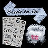 Bachelorette Party Accessories Favors - Bride Showers Tribe Temporary Tattoos + White Lace Bride to Be Sash + Bride to Be Garter (OneSize, Tattoos+Sash+Garter)