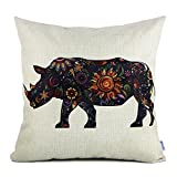 18 x 18 Standard Size Cotton Linen Pillow Case Protector with Rhinoceros Print Pattern