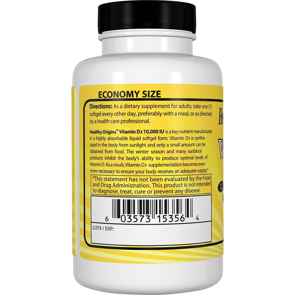 Healthy Origins Vitamin D3 10,000 IU (Non-GMO), 360 Softgels by Healthy Origins (Image #3)