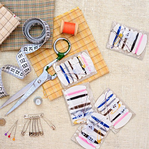 Tatuo 100 Sets Simple Sewing Kit Thread Repair Kit with Sewing Needles, Threads, Button, Pin for Travel Hotel Amenities Necessities, 6 Different