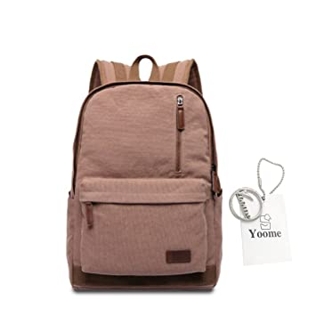 Yoome Simple Durable Canvas Backpack Rucksack School Backpacks for Teens  Laptop Dayback Travel College Bags for ead17a56dbe29