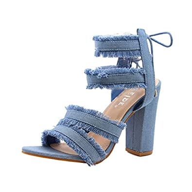 7cbd4d96a48 Ladies Women Lace Up High Heels Ankle Strappy Denim Gladiator Sandals Shoes  Size 3