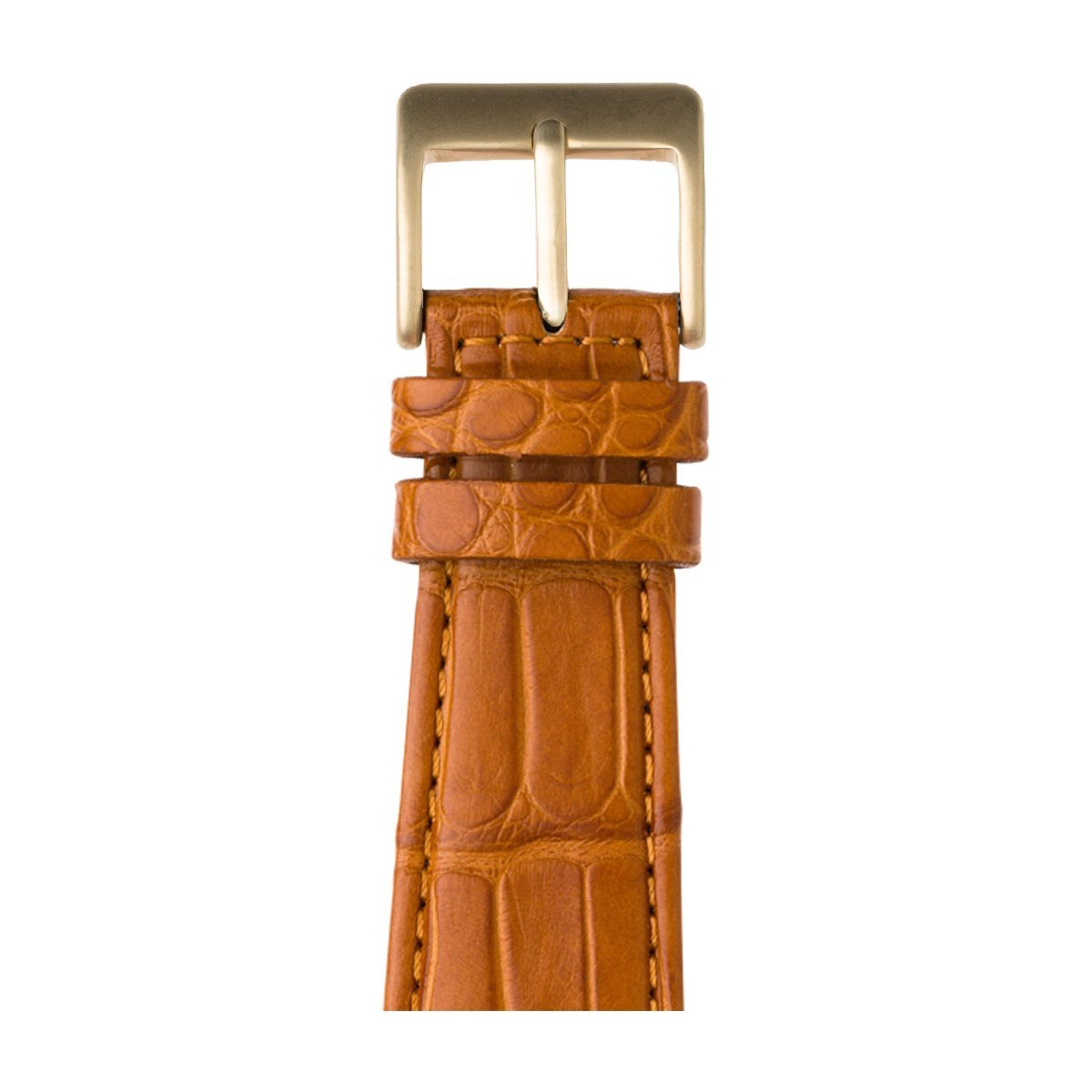Roobaya | Premium Alligator Leather Apple Watch Band in Cognac | Includes Adapters matching the Color of the Apple Watch, Case Color:Gold Aluminum, Size:42 mm