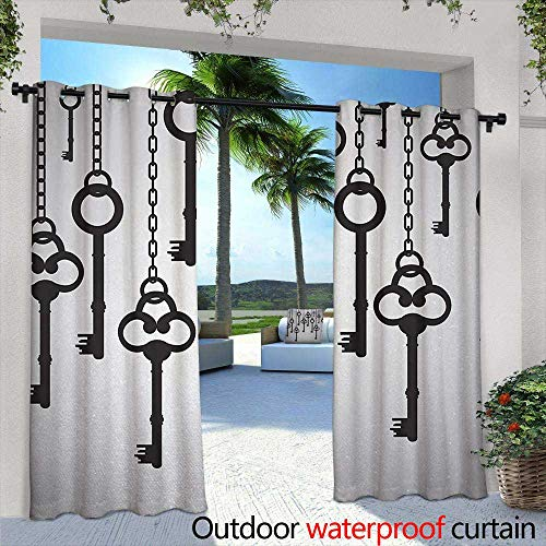 - Tim1Beve Outdoor Window Curtains Antique Silhouettes of Old Keys Hanging Chain Links Unlocking Secure Home Opener for Porch&Beach&Patio 108