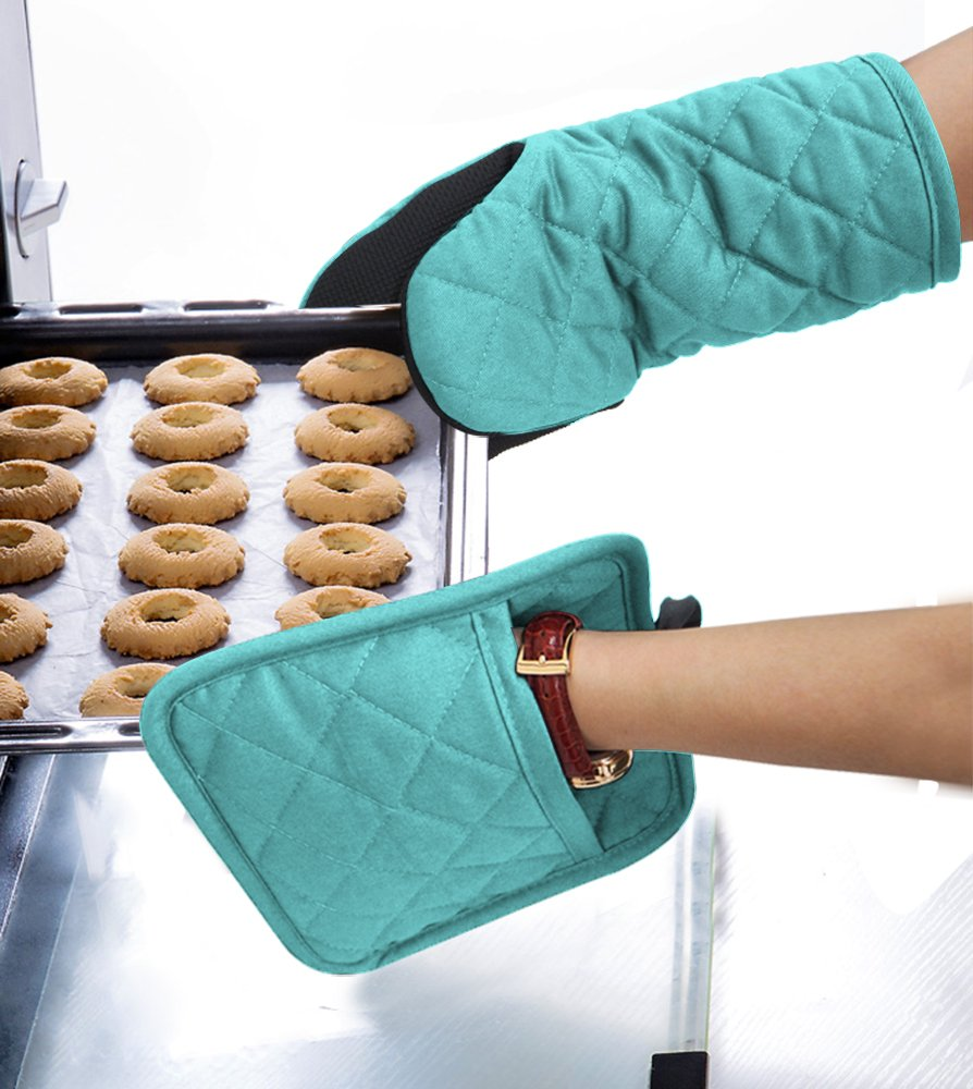 DETA HOME Cotton Oven Mitt & Pot Holder Kitchen Set With Neoprene Non-Slip Grip, Heat Resistant, 2pcs set (Neoprene, Light blue) by DETA HOME (Image #4)