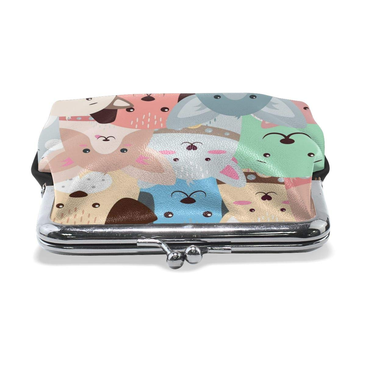 Poream Animals Dog Cute Funny Pattern Personalized Retro Leather Cute Classic Floral Coin Purse Clutch Pouch Wallet For Girls And Womens
