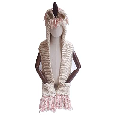38f1d7e8124ff Image Unavailable. Image not available for. Color  TENDYCOCO Crochet  Unicorn Hat with Scarf Pocket Hooded Knitting Beanie Cap Cosplay Photography  ...