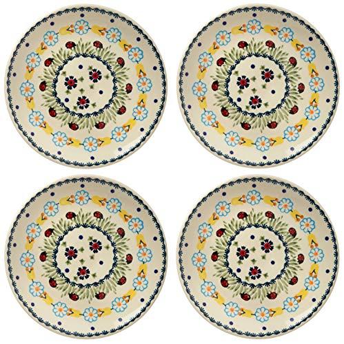Yellow Rose Salad Plate - Polish Pottery Ladybug Floral Chain, 7.25