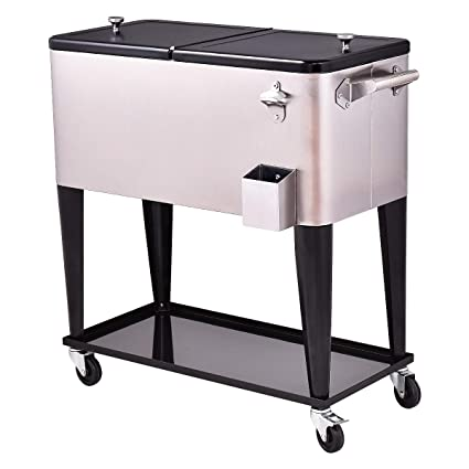 Amazon.com: Giantex 80 Quart Patio Cooler Rolling Cooler Ice ...