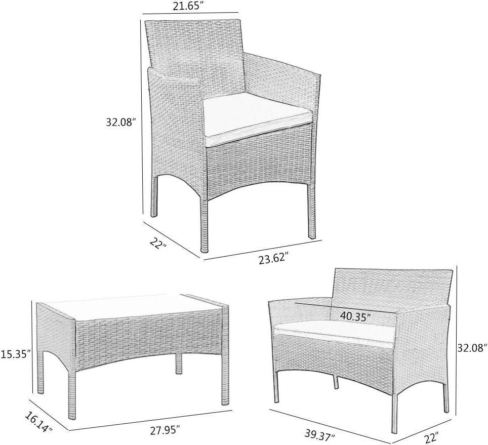 BLUR HORIZON Rattan Garden Furniture Set 4 Piece Dining Table Chair Sofa Set for Patio Black Wicker with Grey Cushions